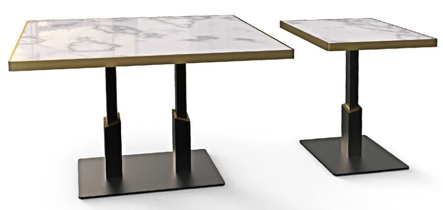 Plat Board Square Column Metal Table Legs Sandy Texture Square / Rectangle Base